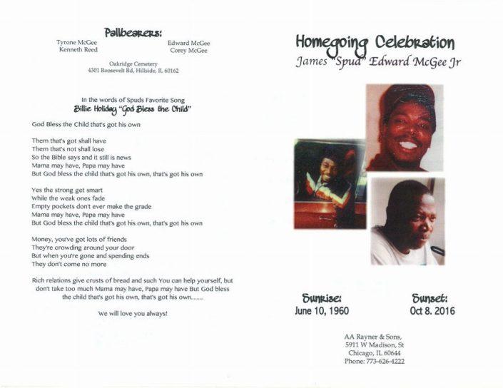 James Spud Edward McGee Jr Obituary