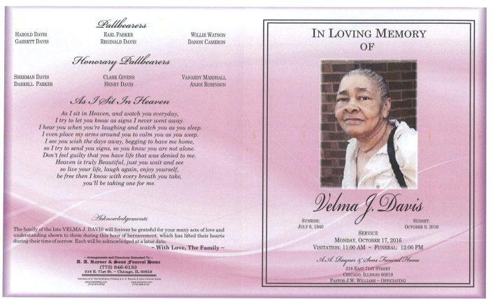 Velma J davis Obituary
