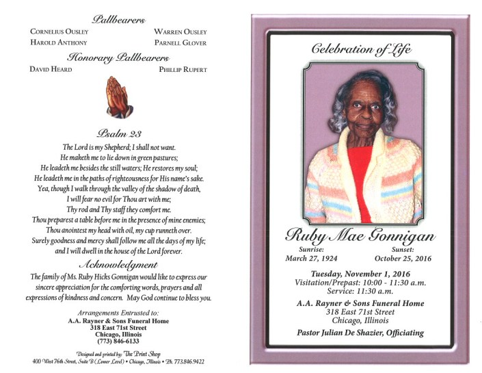 Ruby Mae Gonnigan Obituary from Funeral Services at AA Rayner and Sons Funeral Home In Chicago Illinois