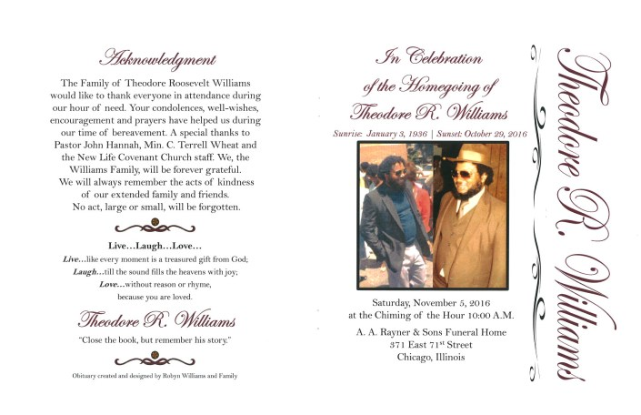 Theodore R Williams Obituary From Funeral Services at AA Rayner and Sons funeral Home in Chicago Illinois
