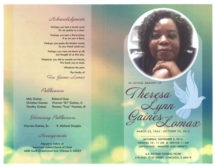Thersa Lynn Gaines Lomax Obituary From Funeral Services at AA Rayner and Sons funeral Home in Chicago Illinois From Funeral Services at AA Rayner and Sons funeral Home in Chicago Illinois