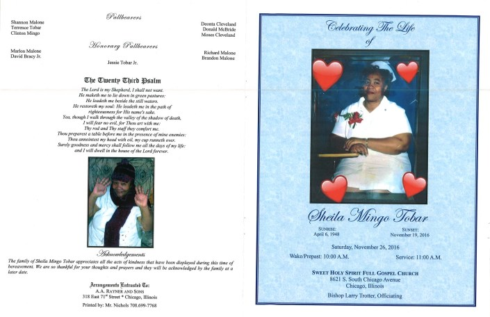 Sheila Mingo Tobar Obituary AA Rayner and Sons Funeral Home Chicago Illinois