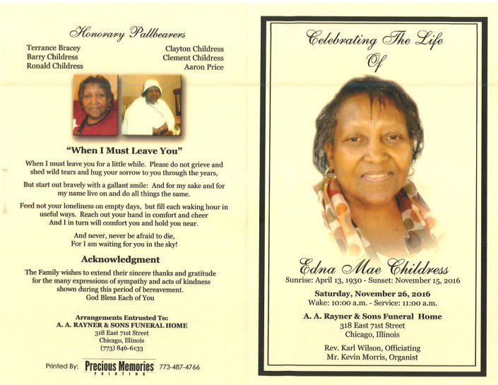 Edna Mae Childress Obituary at AA Rayner and sons funeral home in chicago Illinois