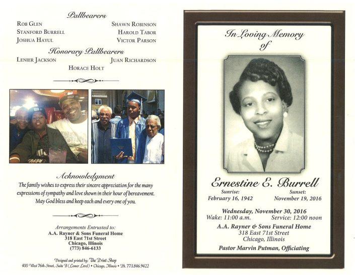 Ernestine E Burrell Obituary