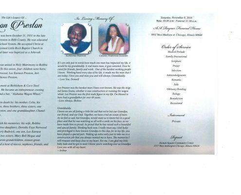Lean Preston Obituary