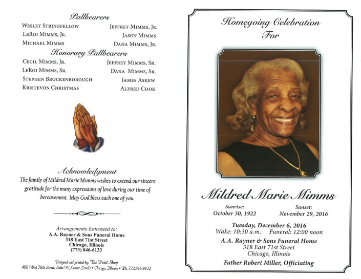 Mildred Marie Mimms Obituary