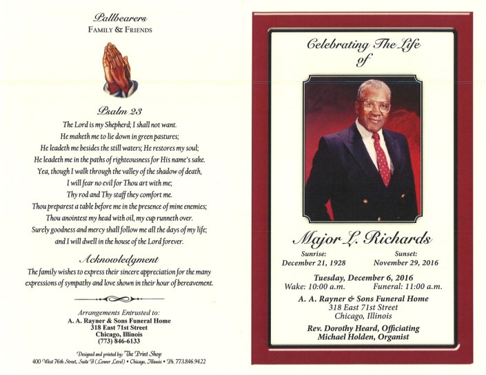 Major L Richards Obituary