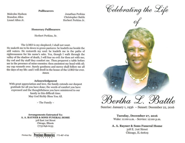 Bertha L Battle Obituary aa rayner and sons funeral Home in chicago illinois