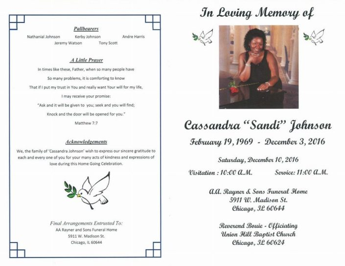 Funeral Services For Cassandra Sandi Johnson at AA Rayner and Sons Funeral Home in Chicago Illinois