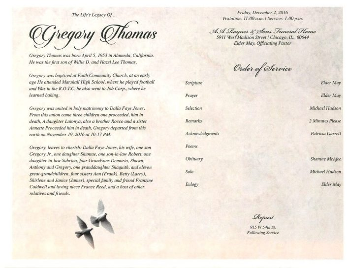 Gregory Thomas Sr Obituary