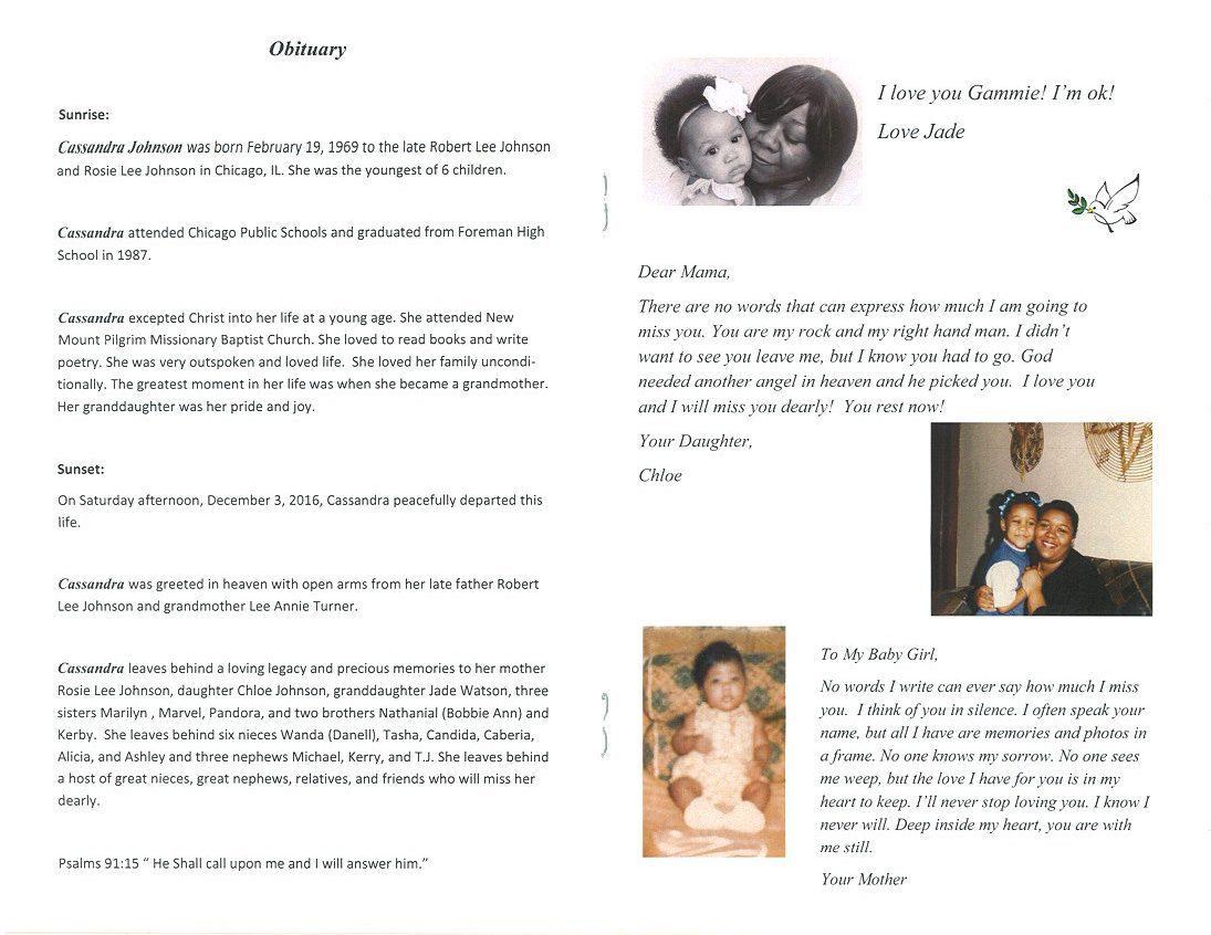 Cassandra Sandi Johnson Obituary Aa Rayner And Sons