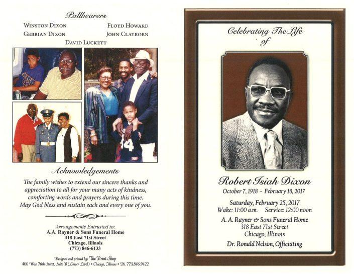 Robert Isiah Dixon Obituary
