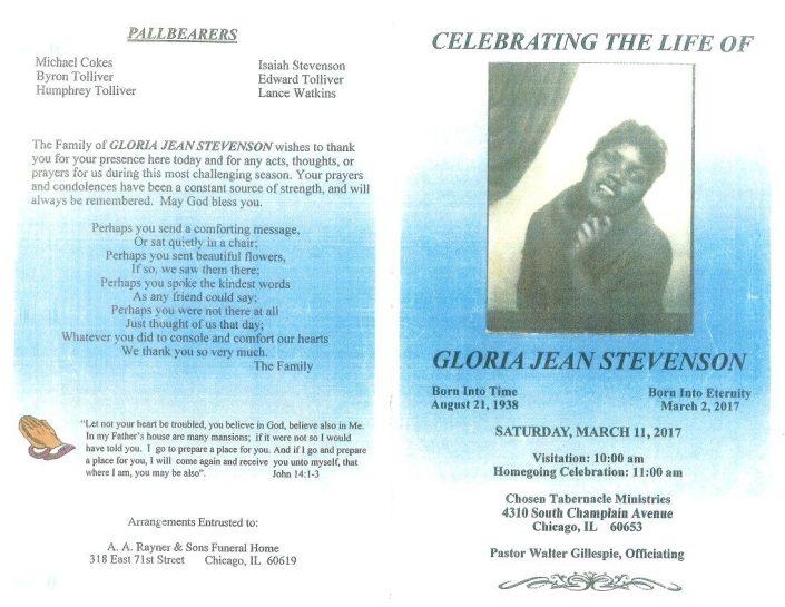Gloria Jean Stevenson obituary