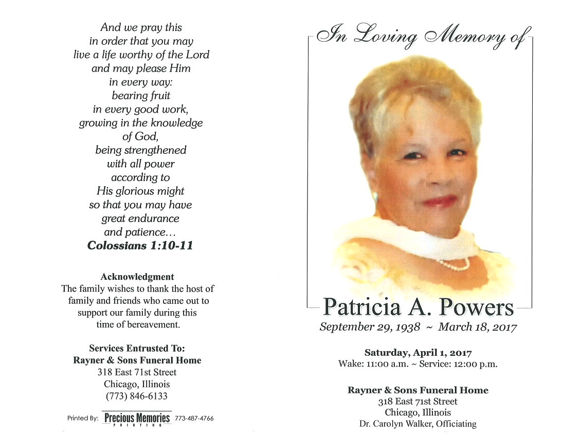 Patricia A Powers Obituary