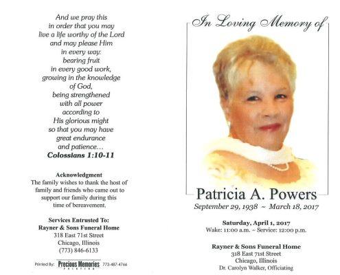 Patricia A Powers Obituary