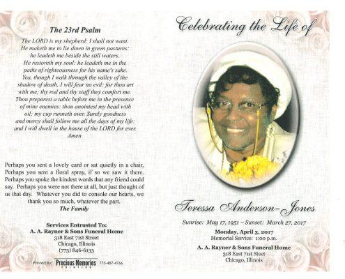 Teressa Anderson Jones Obituary