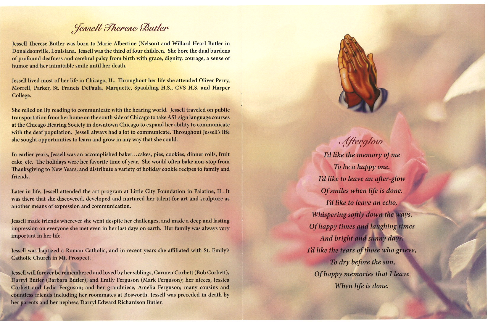 jessell therese butler obituary aa rayner and sons funeral home