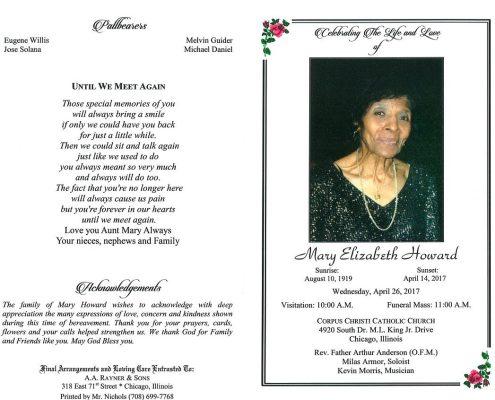 Mary Elizabeth Howard Obituary