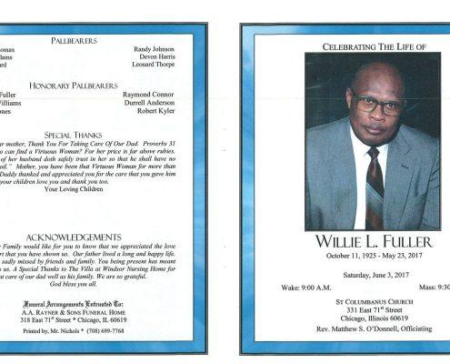 Willie L Fuller Obituary