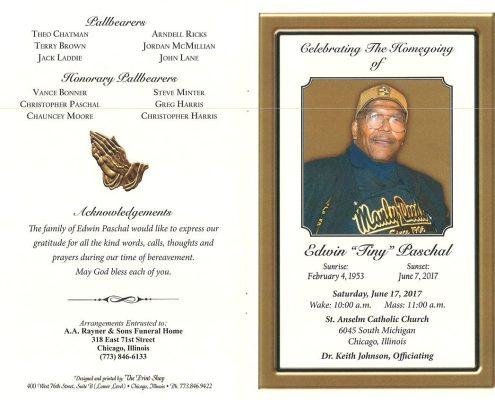 Edwin Tiny Paschal Obituary