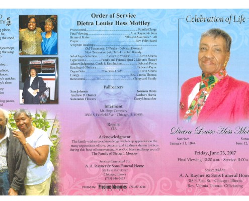 Dietra Louise Hess Mottley Obituary