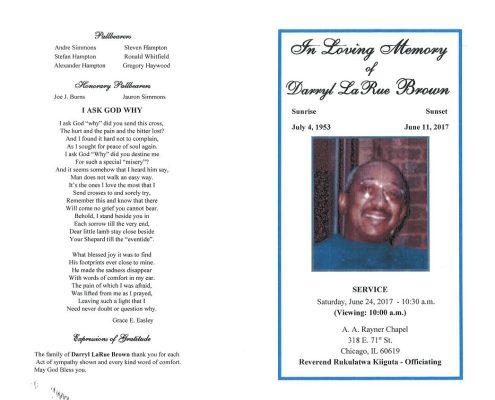 Darryl LaRue Brown Obituary