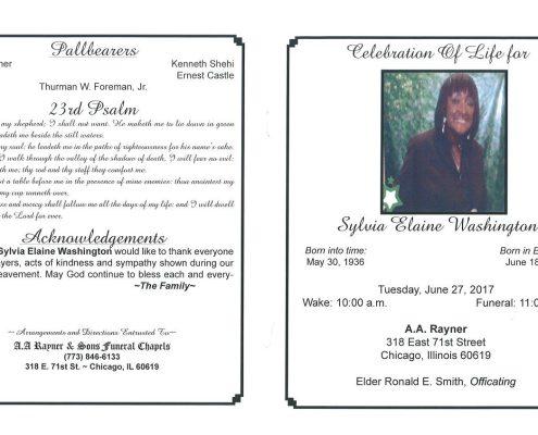 Sylvia Elaine Washington Obituary