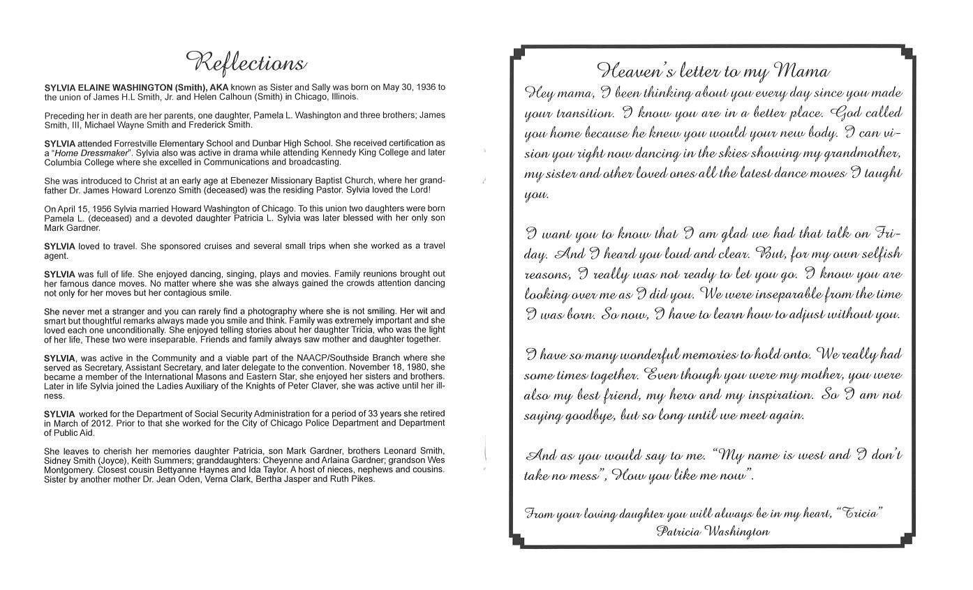 Sylvia Elaine Washington Obituary | AA Rayner and Sons Funeral Home