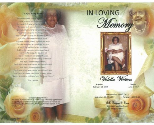 Vidella Weston Obituary