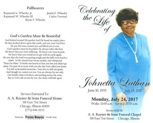 Johnetta Lathan Obituary