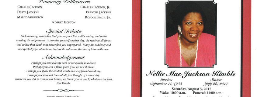 Nellie Mae Jackson Kimble Obituary