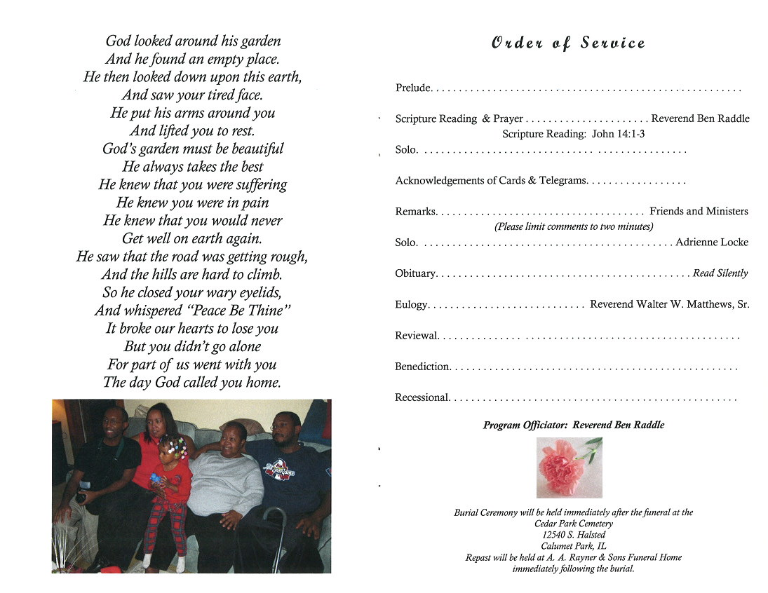Johnnie Mae Bacon  Burial Ceremony Program