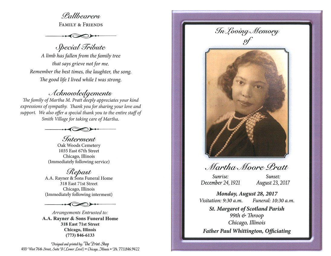Martha Moore Pratt Obituary | AA Rayner and Sons Funeral Home