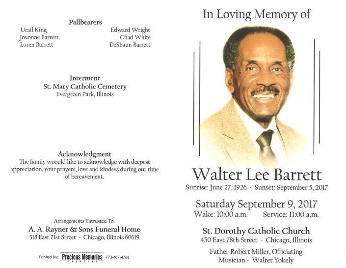Walter Lee Barrett Obituary