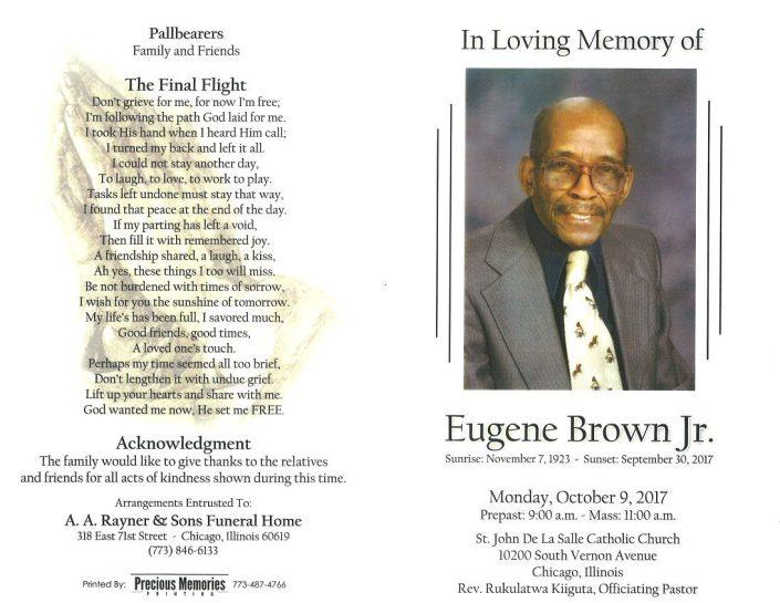Eugene Brown Jr Obituary