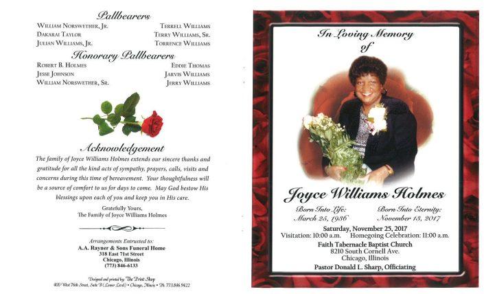 Joyce Williams Holmes Obituary