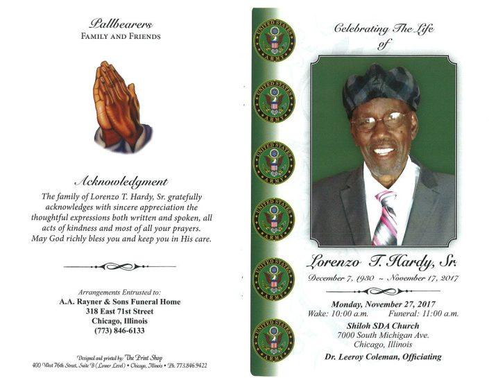 Lorenzo T Hardy Sr OBituary
