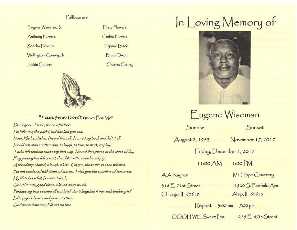 Eugene Wiseman Obituary
