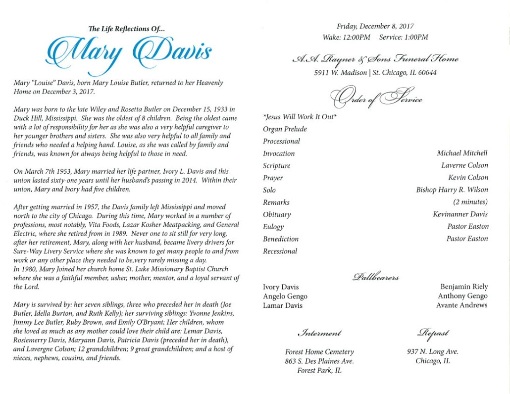 Mary Davis Obituary AA Rayner and sons funeral Home Chicago