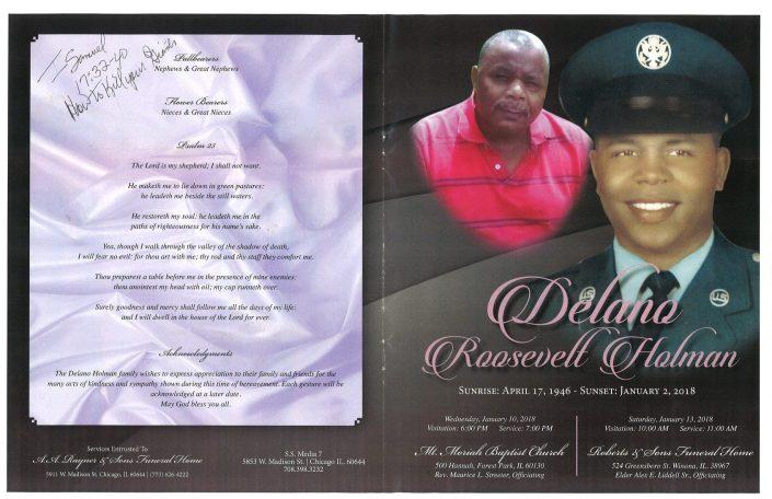 Delano Roosevelt Holman Obituary