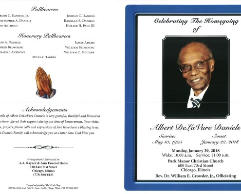 Albert DelaVure Daniels Obituary