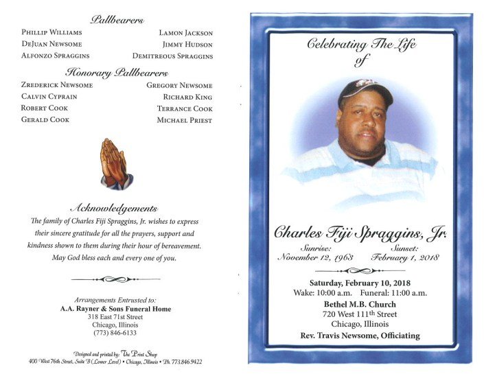Charles Fiji Spraggins Jr Obituary