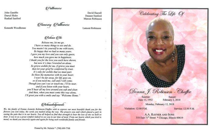 Donna J Robinson Chaffee Obituary