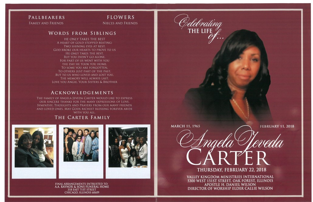 Angela Jeveda Carter Obituary