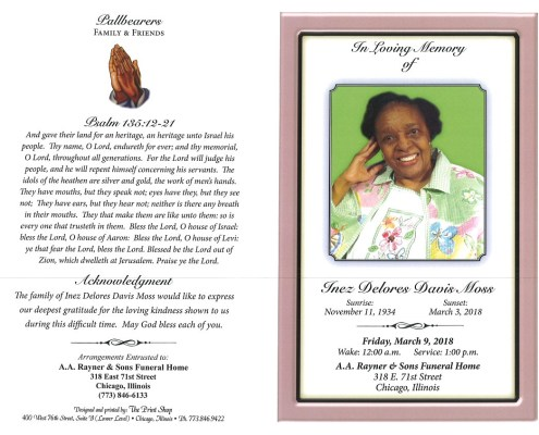 Inez Delores Davis Moss Obituary