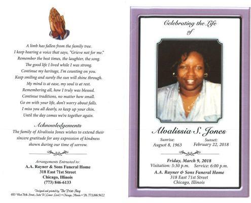 Alvalissia S Jones Obituary