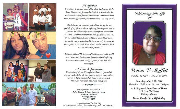 Vivian V Moffett Obituary
