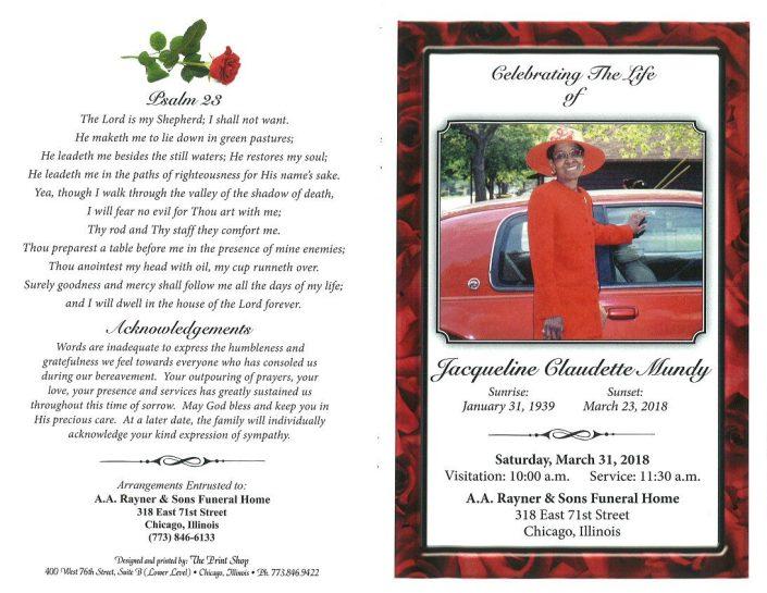 Jacqueline Claudette Mundy Obituary