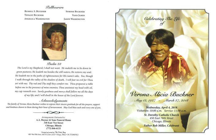 Verona Alicia Buckner Obituary
