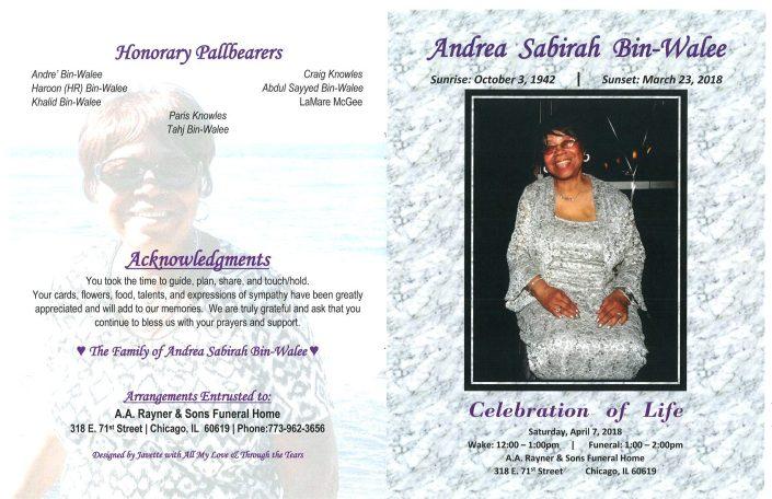Andrea Sabirah Bin Walee Obituary
